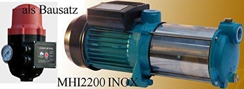 Powermat Gartenpumpe MHI 2200 INOX 2200Watt Fördermenge 160 lmin 9600 lh 5 Laufräder aus Edelstahl - Edelstahlwelle  BRIO SK13 mit Trockenlaufschutz  Rückschlagventil