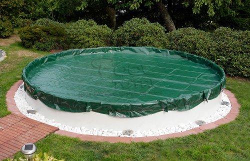 Winter- Sommer Abdeckplane für Pools bis Ø 300 m - Oberseite grün  Unterseite schwarz