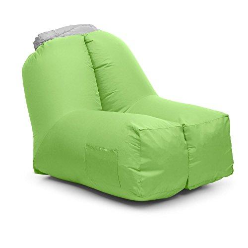 blumfeldt Airchair • Air Chair • Luftsessel • Aufblassessel • Luftmöbel • Maße 80 x 80 x 100 cm • Camping • Reisen • Pool • Meer • inklusive Transportrucksack • waschbar • stylisch • grün