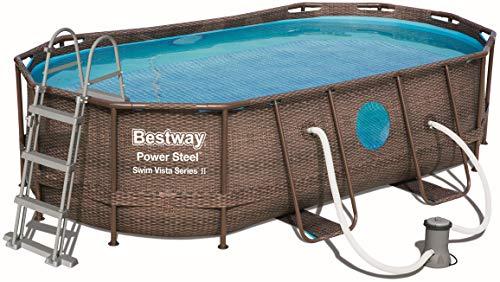 Bestway Power Steel DELUXE SERIES Frame Pool Set oval 427x250x100 cm mit Filterpumpe  Zubehör Rattanoptik