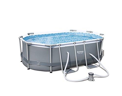 Bestway Power Steel Frame Pool Set oval grau 300 x 200 x 84 cm