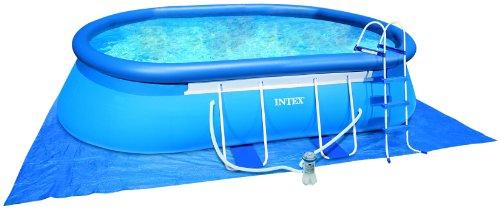 Intex Frame Pool Set Oval 549 x 305 x 107 cm Kartuschenfilter 3800 lh Leiter Abdeckplane Bodenschutzplane Skimmer Reinigungsset 54432