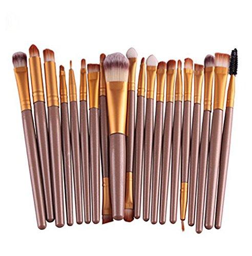Cosanter 20er Set Make-up Kosmetik Pinsel-Set Auge Lidschattenpinsel Powder Foundation Wimpernbürste Pinsel für Damen Mädchen Plastik Goldfarben 15 cm