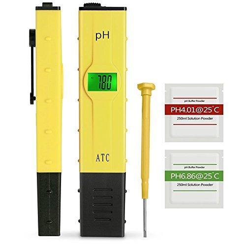 Koopower Digitales pH Messgerät mit LCD-Display tragbarer TesterMesser für Aquarium pH Tester für Urin pH Wert Meter für Pools Monitor für Aquarium und Pool Wasser gelb