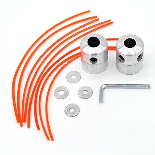 2st SWNKDG Aluminium Fadenkopf Rasentrimmer Kopf Doppelfadenkopf Fadenspule Nylonfaden für Benzin Motorsense Rasentrimmer