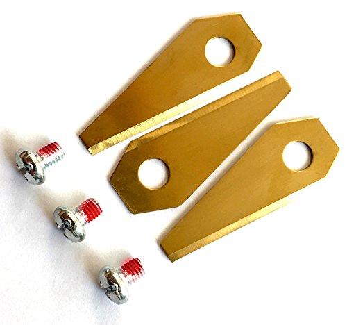 9 Stücke Ersatzteile Rasenmäher Titan Messer Klingen 1 mm Mähroboter Ersatzmesser für alle Bosch Indego Set mit 9 geschärften Messern und 9 Schrauben Golden