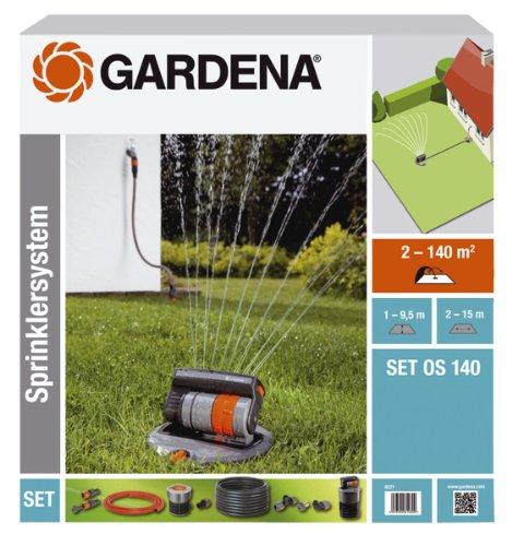 GARDENA Sprinklersystem Komplett-Set mit Versenk-Viereckregner OS 140 Bewässerungssystem für quadratische und rechteckige Flächen bis max 140 m² ebenerdig montiert 8221-20