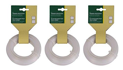 3er-Set Trimmer-Ersatzfaden Ø 20 mm Mähfaden Nylonfaden Rasentrimmerfaden Faden für Freischneider 3 x 15 m