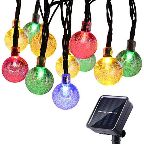 Qedertek Solar Lichterkette Außen 6M 30 LED Kugel Weihnachtsbeleuchtung Bunt 8 Modi Weihnachtsbaum Lichterkette für Haus Garten Hochzeit Party Deko