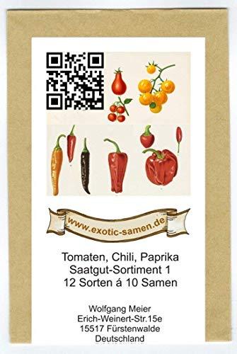 Samen - Saatgutsortiment - Set - Mix - Mischung - Peperoni - Gemüsepaprika scharfe Chili alte Tomatensorten - 12 Sorten á 10 Samen