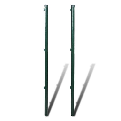 vidaXL Zaunpfosten Zaunpfahl Pfosten für Maschendraht Drahtzaun 2 Stück 200 cm
