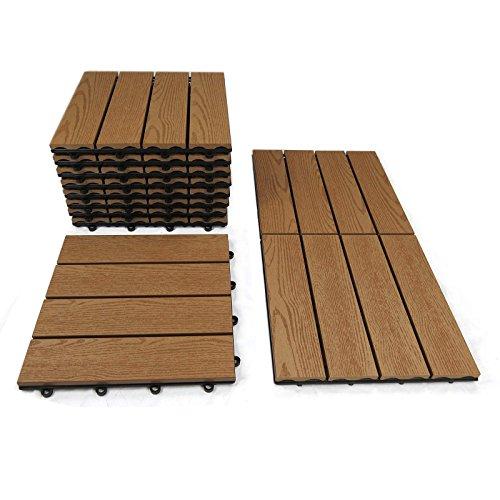 WPC Fliesen 11x Klickfliese 30x30 teakbraun Holz-Optik für Balkon Terrassenfliesen von Gartenpirat