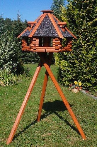 Deko-Shop-Hannusch XXL Luxus Vogelhaus Blickfang Vogelfutterhaus aus Holz 70x45 cm V13s XXL mit Ständer