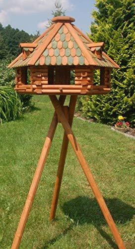 Deko-Shop-Hannusch XXL Luxus Vogelhaus mit Solarbeleuchtung absoluter Blickfang Vogelfutterhaus aus Holz V13 XXL mit Ständer FarbeBraun - Grün