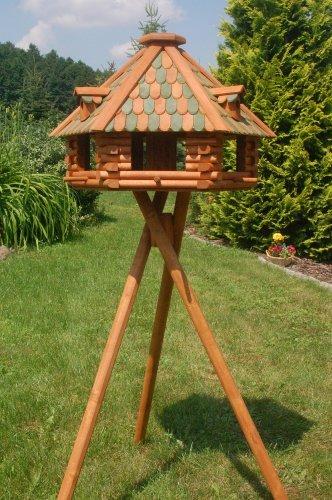 Deko-Shop-Hannusch XXL massives Luxus Vogelhaus Vogelhäuser   imprägniert mit Ständer Vogelfutterhaus mit Futtersilo Silo