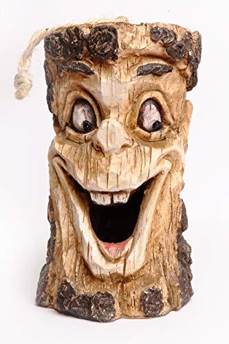 Monsterzeug Lachendes Vogelhaus Holz Futterhaus für Vögel Baumgesicht lacht lustige Garten Deko bruchfestes Kunstharz witterungsbeständig Höhe 21 cm