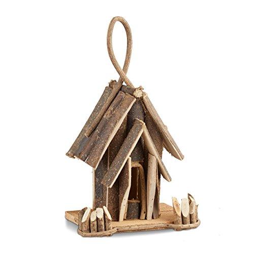 Relaxdays Vogelhaus Deko Holz Vogelhäuschen mit Aufhängung handgefertigte Vogelvilla Dekoration für Balkon natur