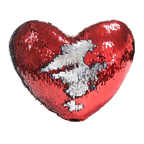 Meerjungfrau Wurf Kissen mit Einsatz Play Tailor Reversible Sequins Kissen Herzform Dekorative Kissen 35 x 40cm Silber  Rot