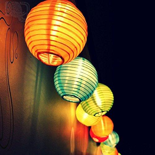 Samoleus Solar Outdoor Lichterkette 48 Meter 20 LEDs Lampions Laterne Solarbetrieben Lichterkette Wasserfest Weihnachten Dekoration für Garten Terrasse Hof Haus Weihnachtsbaum Feiern Farbe