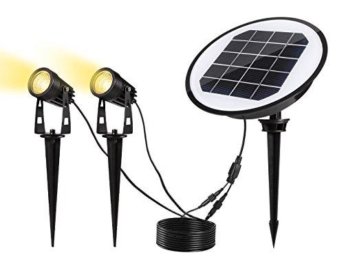 Greenclick 2 Stück Gartenleuchten Solarbetrieb 3000K WarmweißWasserdicht IP65 Outdoor Spotlight Stundenlang Solar Gartenleuchtenled GartenbeleuchtungSpotbeleuchtungBodenleuchteTeichstrahler