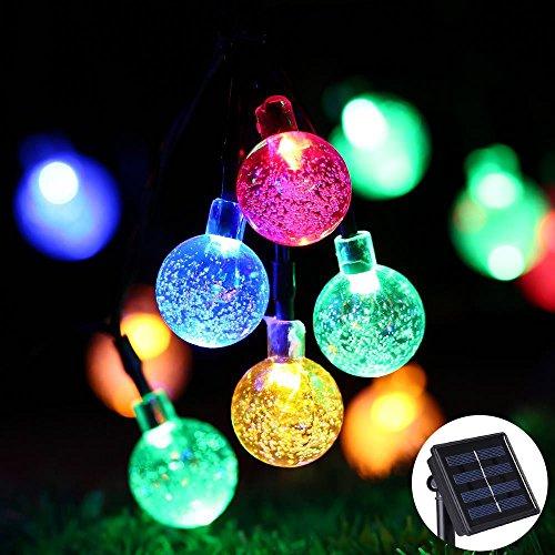 Solar Lichterkette Bunt für Aussen Tomshine Solar Lichterkette Außen mit 30 LED Kugel für Outdoor Wasserdicht 56 Meter Solarlichterkette für Garten Party Hochzeit Weihnachten