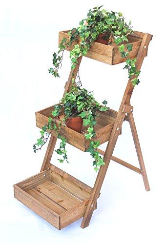 DanDiBo Blumentreppe Holz Fiora 90 cm Braun Leiterregal 3 Stufig Blumenständer Pflanzentreppe Blumenregal
