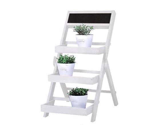 Riyashop Blumenständer Garten Etagere Blumenregal Blumentreppe Pflanzentreppe Blumen Holz Weiß
