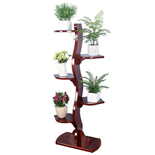 ZJM Blumenregal Blumenständer Holz Veranda Bonsai Rack Fünf-Schicht Pergola Baum Form chinesischen Stil Wein rot Gartenregal