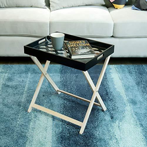 One Couture BEISTELLTISCH MIT TABLETT SERVIERTISCH TABLETT-Tisch COUCHTISCH TEETISCH SCHWARZ