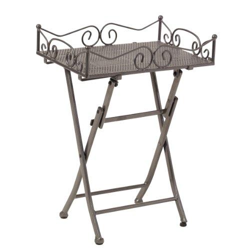 greemotion Beistelltisch Toulouse in Eisengrau leichter Terrassentisch in edlem Design Gartentisch mit praktischen Stellfüßen Bistrotisch mit abnehmbarem Tablett
