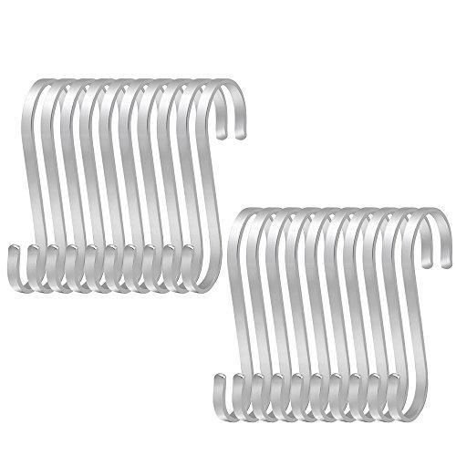 Hysagtek S-Haken aus Edelstahl groß flach Küchenutensilien robust zum Aufhängen für Küche Schränke 20 Stück