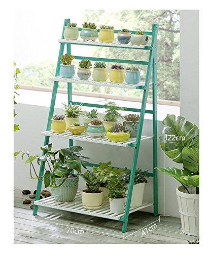 Betriebsstand Indoor-Outdoor kann die mehrschichtige Blume Rahmen vertraglich Boden Typ Echtholz Design einfachen modernen Stil falten Mehrstufiges Blumenregal  größe  7047122cm