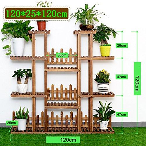 MLFiower racks Blumentreppen Indoor Outdoor mehrschichtige Blume Rahmen einfach und Boden Stil echtholz Blume Regal einfache Moderne Stil blumentreppen Farbe  1