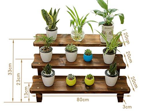 Pflanzenregale ZCJB Balkon Wohnzimmer Antiseptische Holz Multilayer Sukkulenten Blumen Regal Echtholz Floorstanding Single Layer größe  80cm
