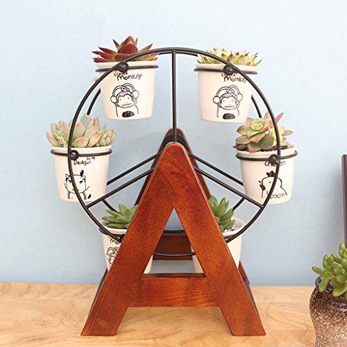 YIFNJCG Mini-Blumenständer Echtholz Büro Blumenständer Fensterbank Blumentopf Regal