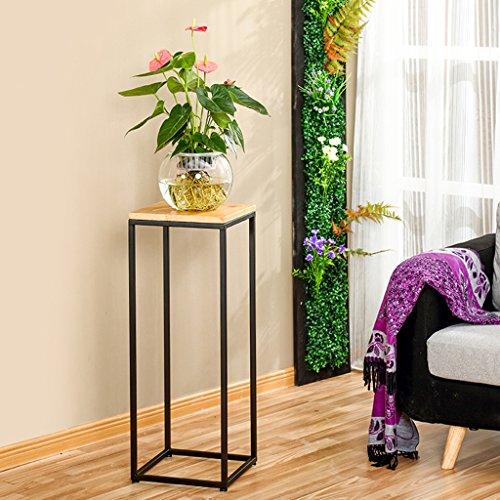 Blumenständer BOBE Shop- Indoor Eisen Blumenregal Multifunktionale Massivholz Wohnzimmer Balkon Einfache Massivholz Blumenregal größe  80cm