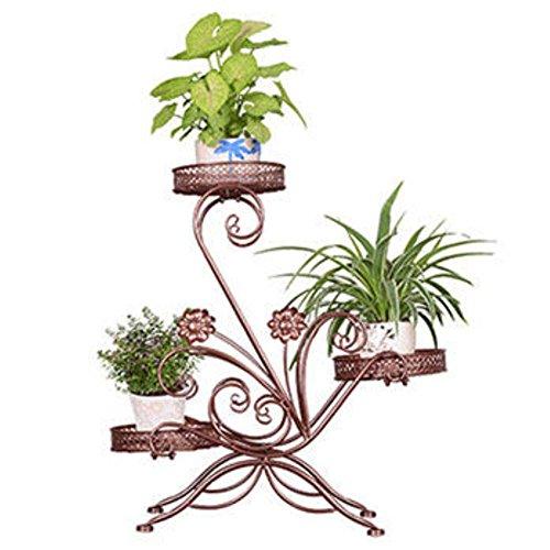 CHAOXIAN Gartenregal Blumenregal Blumen Regal Gartenregal Pflanzenständer 3 Schichten Eisen 3 Farben 61x21x68cm Farbe  Bronze