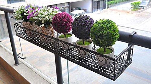JAZS Blumenregale Eisen-Geländer-Aufhängung Blumen-Regal Zaun Multifunktions-Balkon Blumentopf-Rack schwarz 50 × 20 × 12cm Stabbreite 4cm Umweltschutz raffiniert  größe  1202512cm