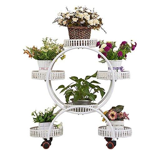 JIA JIA HOME - Drinnen draußen Blumentreppen Retro Blumenregale Eisen Metall Blumen Stehend Regal für 6 Pflanzen Blumentöpfe Halter Ständer Rack mit Bremsscheibe Garten Lagerregal für Innen Wohnzimmer