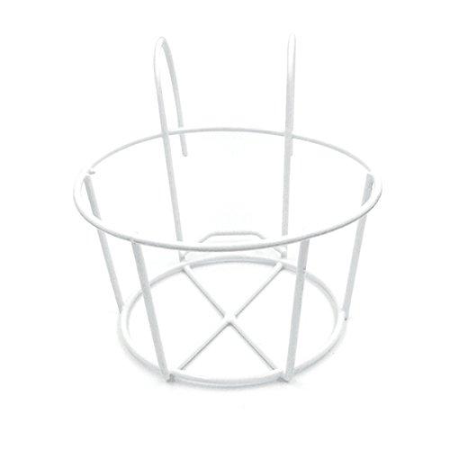 OUNONA Eisen-Geländer Blumentopfhalter Hängende Blumenregal Pflanzenregale für Haus Garten Balkon Deko - Größe M(Weiß)
