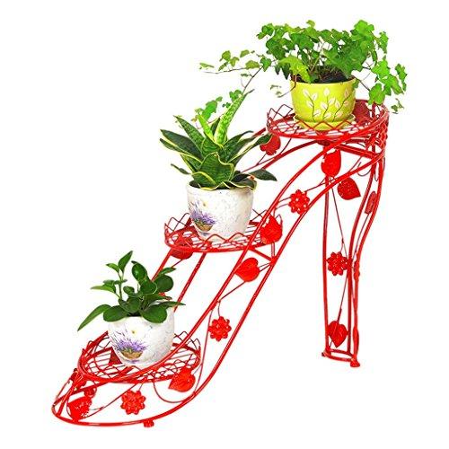 ZHDC Blumenregale Eisen Mehrere Schichten Wohnzimmer Balkon Innen- und Außenblumen-Topf-Rack Blumenregal rot 73  25  54cm Stabiler starker Speicherplatz