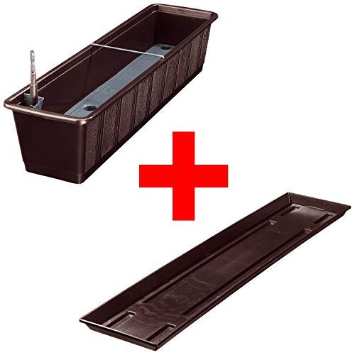 Balkonkasten Aqua Green Plus mit Bewässerung und Passendem Untersetzer Farbenbraun 08 Länge80 cm