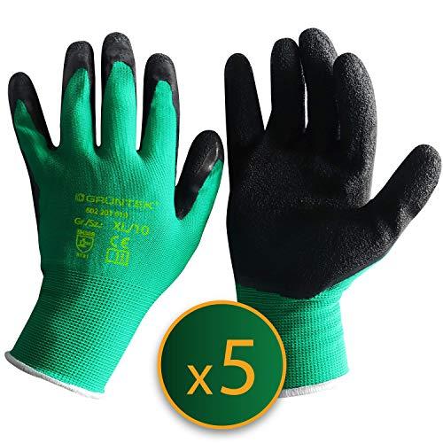 GRÜNTEK Gartenhandschuhe 5 Paar mit Latex-Beschichtung Garten- und Bauhandschuhe Arbeitshandschuhe geeignet für den privaten und gewerblichen Gebrauch XL10