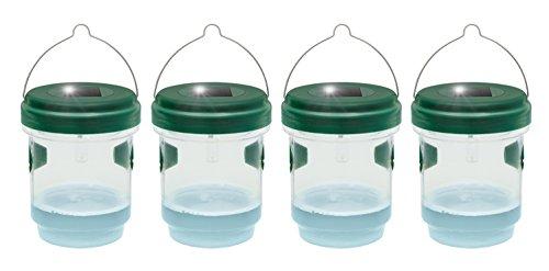Gardigo 2in1 Mückenfalle und Wespenfalle 4er Set mit Solar Licht  LED Leuchte lockt Mücken an  Einfach mit Lockstoff füllen  Für Drinnen und Draußen  Deutscher Hersteller