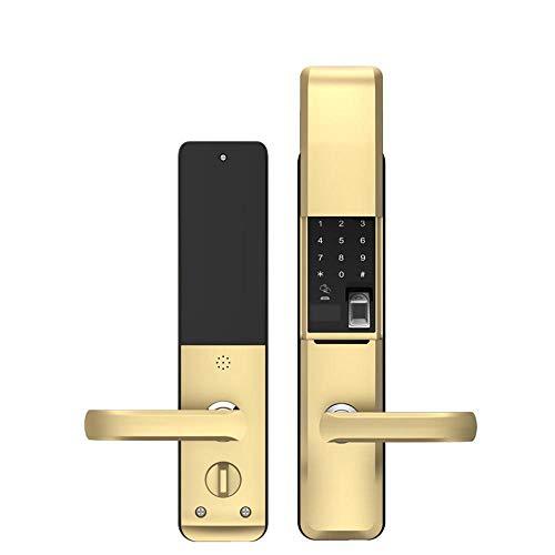 Lxj Fingerabdruck Schloss Smart Fingerabdruck Schloss Haushalt Passwort Lock Diebstahlschutz Türschloss elektronisches Türschloss Eisentor aus Holz Tür