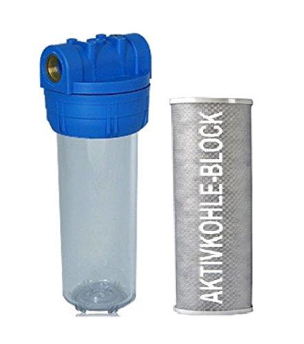 Filtergehäuse SET 10 Zoll mit 12 Wasseranschluß  AKTIVKOHLE Block FILTER Patrone GEHÄUSE mit Filterkartuscheals Vorfilter für Wasserfilter  Umkehrosmose Anlage Hauswasserwerk Brunnenwasser Garten Pool Bakterienfilter Geruch