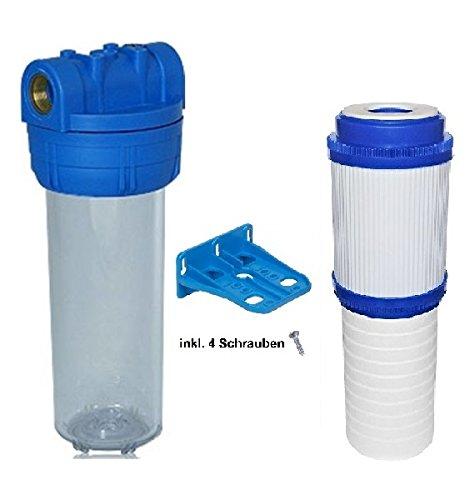 Filtergehäuse SET 10 Zoll mit 34 Wasseranschluß  Gewinde Wandhalterung und einem 2 in 1 Kombifilter gegen GERÜCHE VIREN BAKTERIEN SEDIMENTE mit Sedimentfilter und Aktivkohlefilter als Wasser Vorfilter für Wasserfilter  Umkehrosmose Filter Anlage
