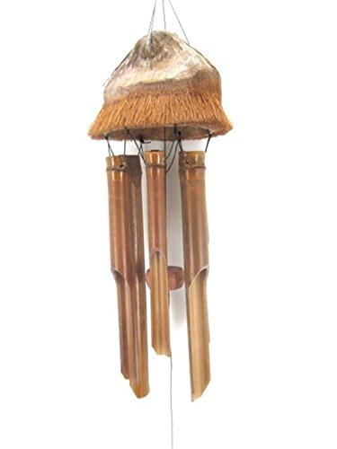 Ciffre 90cm Windspiel Klangspiel Feng Shui Garten Wetterfest Bambus Kokosnuss Kokos Holz