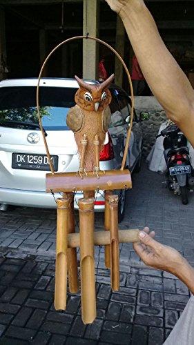 Ciffre Ca 100cm Holz Eule Windspiel Wind Spiel Feng Shui Garten Balkon Deko Owl