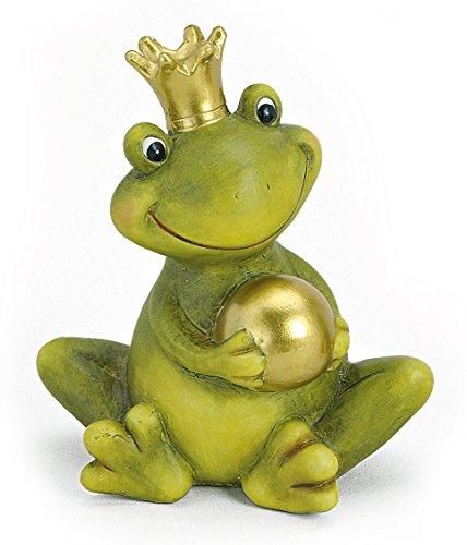 Dekofigur Gartenfigur Frosch Froschkönig 15 cm Keramik Grün Mit Goldkugel Deko Figur Märchenfrosch Garten Deko Stein Optik